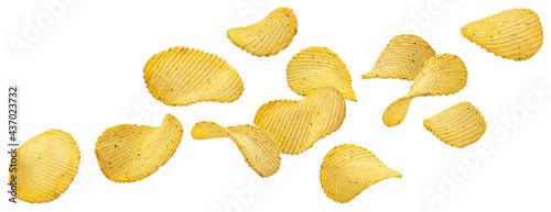 Fotografie, Obraz Ridged potato chips isolated on white background