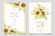 Elegant Watercolor Sunflower Invitation Card Set
