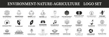 Environment Logo, Nature Logo, Agriculture Logo Set. Nature Logo Set. Green Tree, Drop Of Water, The Sun And Gear Wheel - Ecology And Environment, Agriculture And Industry Icons.