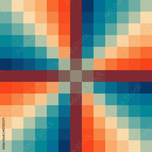 Fototapeta A pixel tartan pattern, big symmetrical blocks, faux leather palette from the 1970s