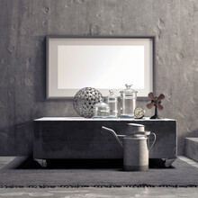 Vintage Still Life Frame Mockup With Clock And Fan With Vases And Steel Ball, Concrete Wall.3d Render.