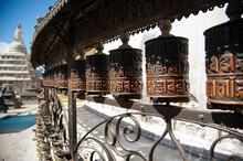 Prayer Wheels At The Swayambhunath Stupa In Kathmandu