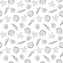 Marine Vector Seamless Background From Hand Drawn Sea Shells And Stars. Nautical Pattern With Shellfishes Isolated On White
