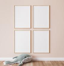 Poster Mockup In Minimal Nursery Design, Wooden Frames On Beige Interior Background, 3d Render