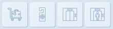 Set Line Suitcase, Lift, Please Do Not Disturb And . White Square Button. Vector
