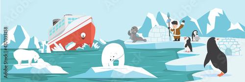 Billede på lærred North pole Arctic landscape cartoon
