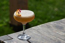 Fresh Gin Cocktail With Peach Juice And Egg