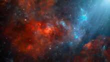 Space Background. Colorful Nebula In Red And Blue Color With Stars. Digital Painting