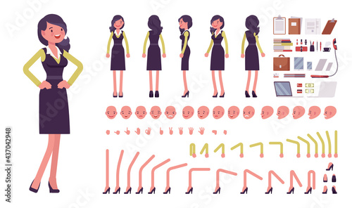 Businesswoman, woman in formal workwear, office outfit construction set. Manager, young attractive entrepreneur executive, or owner. Cartoon flat style infographic illustration, different emotions