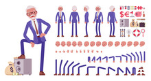 Handsome Old Man, Elderly Businessman Construction Set. Bossy Senior Manager, Gray Haired Active Person Above 50 Year, Business Objects. Cartoon Flat Style Infographic Illustration, Different Emotions
