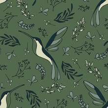 Seamless Vector Pattern With Hamming Birds On Green Background. Simple Vintage Tropical Wallpaper Design. Decorative Summer Garden Fashion Textile.