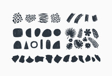 Abstract Elements Collection. Contemporary Design Elements. Geometric Shapes, Tropical Plants, Collage Paper, Animal Texture.