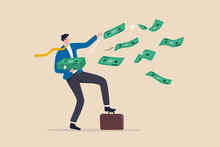 Success And Wealthy Fortune Entrepreneur, Investment Profit And Earning, FED Stimulus Monetary Policy Concept, Happy Businessman Millionaire Throw Out Pile Of Money Banknotes Flying Into The Air.