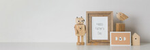 Happy Father's Day. Photo Frame, Card Dad And Wooden Craft Toys On White Background With Copy Space