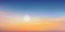 Summer Sunset Dusk Sky In Evening With Pink,Orange,Yellow And Blue Colour,Dramatic Twilight Landscape Of Skyline With Cloud,Vector Natural Horizon Banner Of Sunrise For Spring Or Summer Background