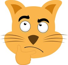Vector Emoticon Illustration Of A Cartoon Cat's Face With A Thinking Expression