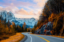 Autumn Season Road In Washington States, ,USA