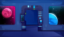 Futuristic Open Door On Shuttle With Neon. Hud. Two Viewports For A View Of Other Planets. Cartoon Style. Vector