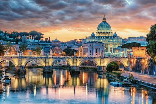 Fotografie, Obraz The city of Rome at sunset