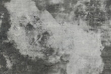 Abstract Gray Painted Old Wall For Background Or Texture, Peeling Paint And Stucco With Cracks Like Grunge Style