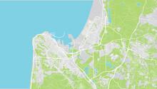 Urban Vector City Map Of Haifa, Israel, Middle East