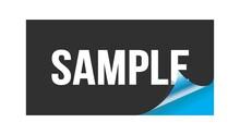 SAMPLE Text Written On Black Blue Sticker.