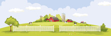 Abstract Landscape -- Dairy Farm / Vector Illustration, Rural View -- Fields And Meadows, Summertime.