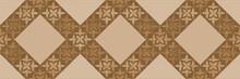 Brown Geometric Pattern Background, Damask Textile Or Wallpaper Design
