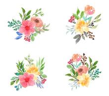 Colorful Floral Watercolor Bouquet Collection