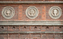 Decorations On The Brick Wall Of The Medieval Church Holy Mary Of Grace,Chiesa Di Santa Maria Delle Grazie, 1497. Milan,lombardy,Italy.