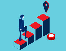 Business Person In Going Upstairs By Column Chart With Goal. Career Growth Isometric