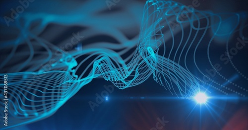 Composition of 3d tangled network of blue lines with blue spotlight on black background