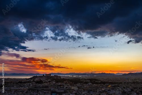 Obraz na płótnie Acropolis of Athens at sunset