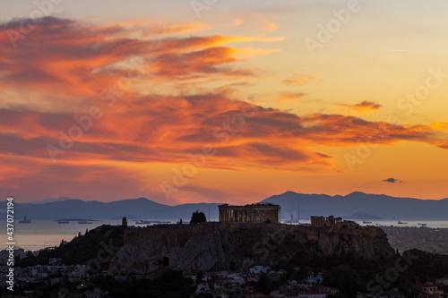 Acropolis of Athens at sunset Fototapeta
