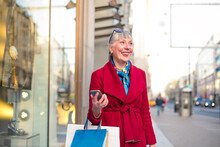 Elegant Beautiful Woman Shopping In The City