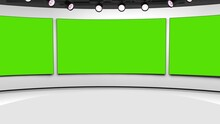 Tv Studio. News Room. Blye And Red Background. General And Close-up Shot. News Studio. Studio Background. Newsroom Bakground. The Perfect Backdrop For Any Green Screen Or Chroma Key Video Production