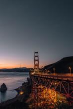 A Photo Of The Golden Gate Bridge, San Francisco During Dusk. An Impressive Architectural Sight.
