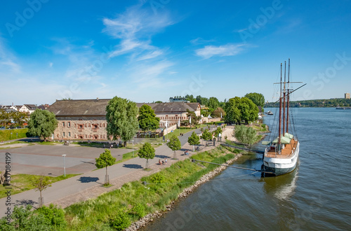 Canvas view to the old Bastion with historic ship in Mainz Kastel