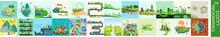 Ecology Infographics Set. Ecocity Infographics.Smart City Development Infographics Map. Vector Illustration,green Factory, Electric Vehicle, Renewable Energy, Organic Farm, Circular Economy, Ozone
