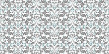 Wallpaper In The Style Of Baroque. Seamless Vector Background. Blue And Gray Floral Ornament. Graphic Pattern For Fabric, Wallpaper, Packaging. Ornate Damask Flower Ornament