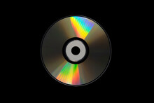Cd Or Dvd, Storage Data Information Technology. Music And Movie Record. Holographic Side Of The Compact Disc. A Compact Disc Isolated On Black Background.