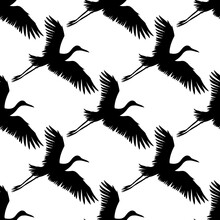 Vector Seamless Pattern Of Black Hand Drawn Flying Crane Bird Silhouette Isolated On White Background