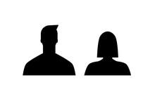 Hombre Y Mujer. Silueta Negra De Personas De Género Masculino Y Femenino. Concepto De Nuevos Integrantes O Personajes. Ilustración Vectorial
