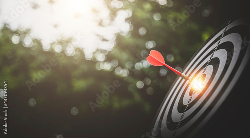 Bullseye or dart board has dart arrow throw hitting the center with bokeh nature backgrounds, shooting target for business targeting and winning goals business concepts.