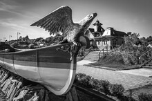 Eagle Figurehead In Front Of A River Port Station In The Town-island Of Sviyazhsk, Tatarstan. Black And White.