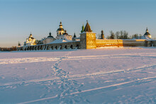 View Of The Kirillo-Belozersky Monastery From The Seversky Lake In The Rays Of The Rising Sun On A Frosty Winter Morning, Kirillov, Vologda Region, Russia
