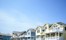 Colorful Beach Houses In Nags Head On The North Carolina Outer Banks
