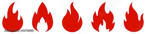 Fotografie, Obraz Fire red, flames icon set. Logo design fire. Vector illustration