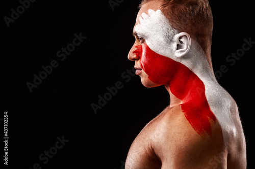 Fototapeta premium Switzerland fan. Soccer or football athlete with flag bodyart on face. Sport concept with copyspace.