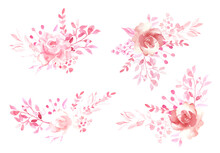 Watercolor Hand Painted Pink Flowers Frame, Wreath, Bouquet For Wedding Greetings, Stationary, Wallpapers, Background. High Quality Illustration